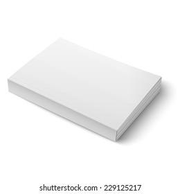 Leere Softcover-Bücher oder Zeitschriftenvorlage auf weißem Hintergrund.  Vektorgrafik. EPS10.