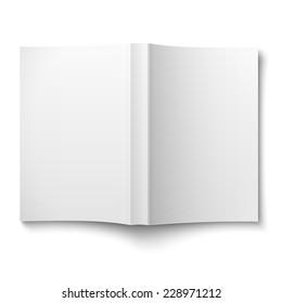 Leere Vorlage für das Softcover-Buch auf weißem Hintergrund, Vektorgrafik.