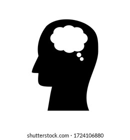 blank speech bubble in head isolated on white background. mental health concept. vector illustration