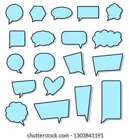 blank speech bubbles, blue cartoon chat box different shape set isolated on white background for add text,wording  or design; vector illustration