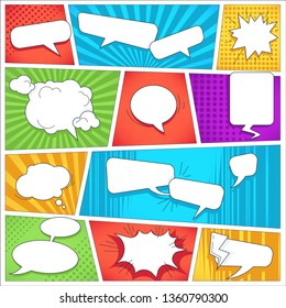 Blank speech bubbles and sound visualization comics book background template vector empty dialog boxes burst and cloud color pieces effect scene sections action description mockup superhero adventure
