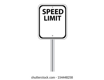 Blank Speed Limit Traffic Road Sign on White. Vector