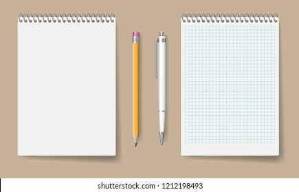 Blank spiral notebook mockup for corporate identity and branding. Realistic notepad with pen and pencil isolated vector illustration