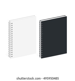 Blank Spiral Notebook Template. Black and white covers. Isometric view, on white background. Realistic mockups. Vector illustration