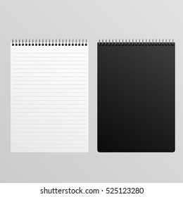 Blank Spiral Notepad white and black mockup eps 10 vector