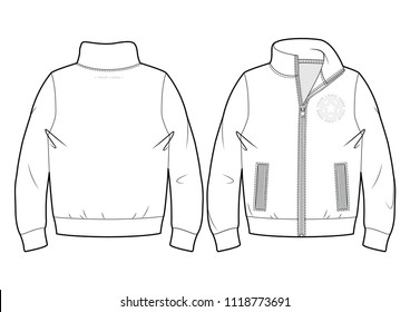 Blank sport sweatshirt with zip closure and pockets (front and back view)