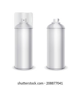 Blank spray can template with transparent cap, vector illustration