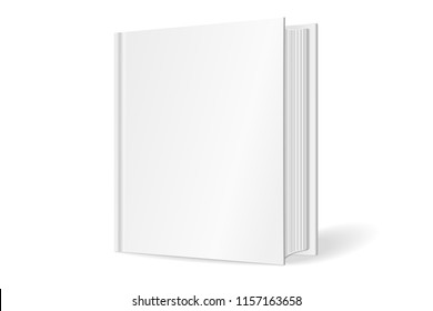 Blank square cover of the book. Isolated on white background. 3D Mockup to display your design. Vector illustration