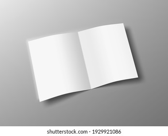 Blank Square Page Open Half-folded Brochure Isolated On White Background. EPS10 Vector