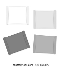 Blank square sachet packets isolated on white background, realistic vector mockup. Snack packaging wrapper, chocolate chunk, candy - template.