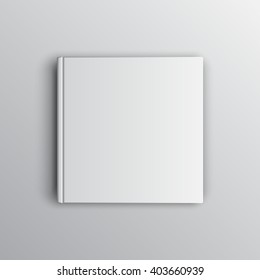 Blank square white book mockup on gray. Textbook, booklet or notebook for design and branding