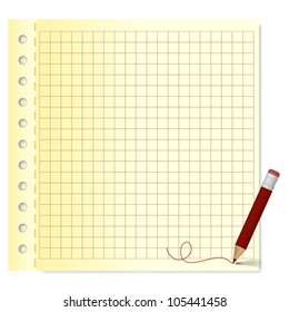 Blank squared grid paper with color pencil - vector illustration