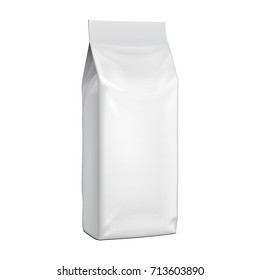 Blank Stand Up Pouch Snack Sachet Bag With Handle. Mock Up, Template. Illustration Isolated On White Background. Ready For Your Design. Product Packaging. Vector EPS10