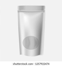 Blank stand up pouch with window, realistic vector mock-up. Food storage bag with zip lock closure and tear notches on top, mockup.