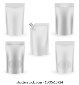 Blank stand up pouches, vector mock-up set. Vacuum food bags, aseptic packaging - realistic template.