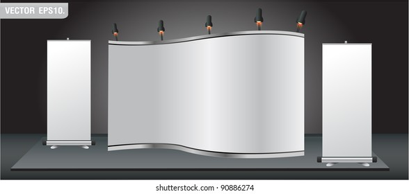 Blank stand for your ad and Roll up banner. Vector template background