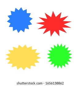 blank starburst speech bubbles set with different color isolated on white background. vector illustration