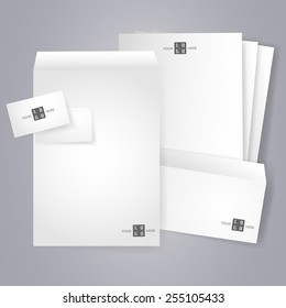 Blank stationery and corporate identity templates. Collection of various office papers. Blank, business card, letterhead A4, envelope isolated with soft shadows. Copy space. Vector is EPS10.