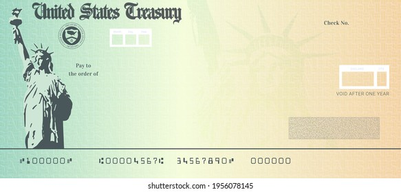 Blank stimulus check template. Fake money bank cheque mockup
