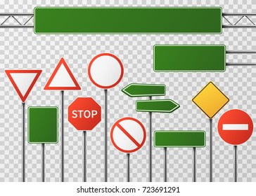 Blank street traffic and road signs vector set isolated. Collection of sign road, signpost and guidepost for transport illustration