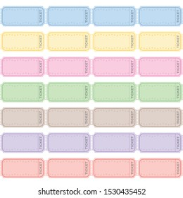 Blank strip tickets to be labeled, colored rows of raffle tickets for tombola, lottery, admission, cinema, theater, festival and other events. Retro style vector on white background.