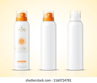 Blank sunscreen spray bottle set in 3d illustration
