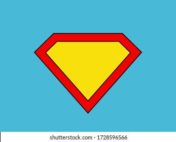 Blank superhero badge. Colorful illustration. Superpower concept. Icon on a blue background