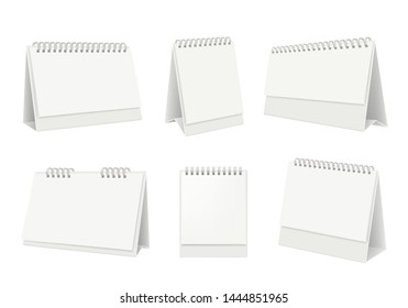 Blank table calendar. Desktop organizer with white paper pages vector realistic mockup. Office page organizer, template calendar stand for table illustration