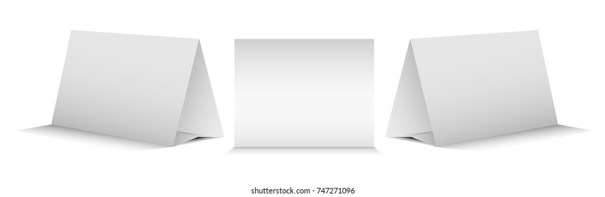 Blank Table Tent isolated on white background. Paper  cards on white background. Front, left and right view. Vector illustration.
