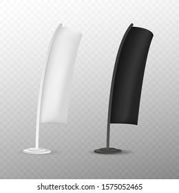 Blank teardrop bow flag advertising beach flag or vertical wind banner.