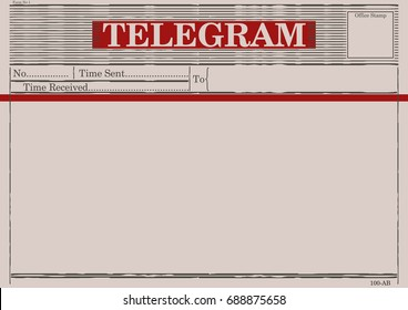 Blank telegram form. Flat vector.