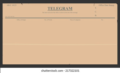 Blank telegram in retro style. Vector illustration without gradients. Plenty of space for any text.