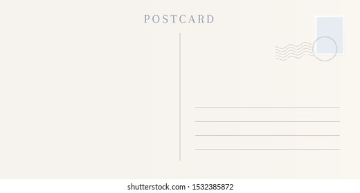 Blank template of a backside of travel postcard