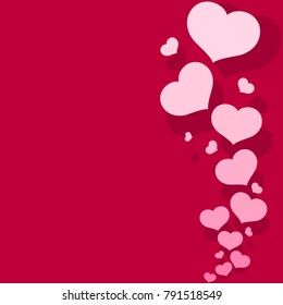 Blank template card with pink hearts on a romantic pink background Pattern from decorative hearts for the design of greeting cards banners posters for Valentine's Day and wedding invitations Vector