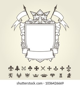 Blank template of coat of arms with shield and set of heraldic symbols