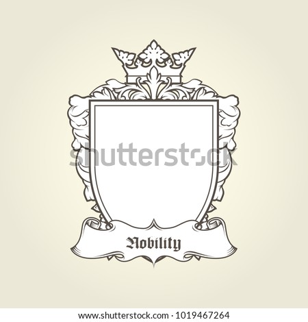 blank template coat arms shield crown stock vector royalty free