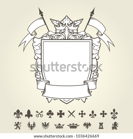 Blank Template Of Coat Arms With Shield And Set Heraldic Symbols