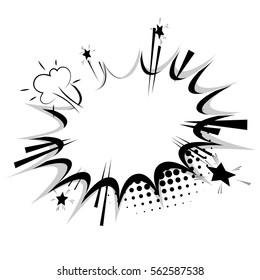 Blank template comic text speech bubble star, halftone dot background style pop art. Dialog empty box space. Creative composition idea conversation comics book sketch explosion sudden burst bomb.