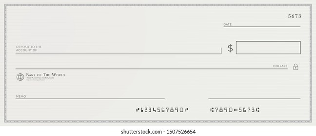 Blank template of the fake bank check.