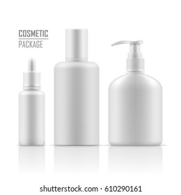 Blank template of packages. Cosmetic for hygiene and clean. Set of empty realistic plastic containers: body cream bottle, liquid soap with dispenser. Vector mockup isolated on white background.