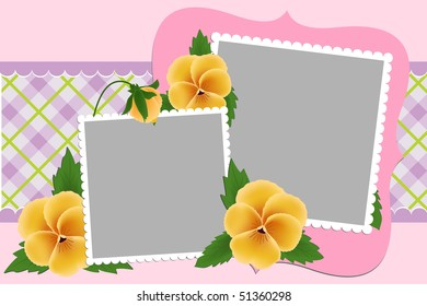 Blank template for photo frame or album with pansies (EPS10)