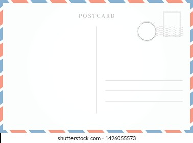 Blank template of postcard backside. Empty back of travel card