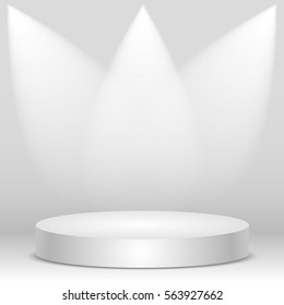 Blank template with rays of light of white podium, scene. Vector illustration, eps 10.