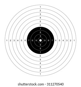 Blank template for sport target shooting competition. Clean target with numbers for shooting range or pistol shooting.