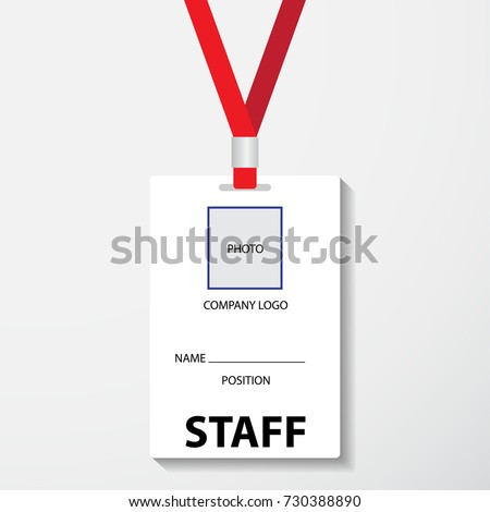 blank template staff employee identification card stock vector