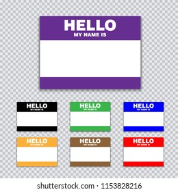 Blank template tag my name is. Set of color blank stickers white label with shadows isolated on transparent background. Vector illustration.