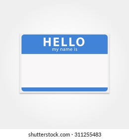 Blank template tag my name is. Rectangular name badge or hello sticker. Blue hello badge or name tag isolated from the background.