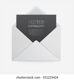 Blank template of white paper envelope with empty black sheet. Vector mockup open envelope for letter. Symbol of message, mail, email or business document. Realistic icon isolated on white background.