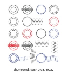 Blank templates of shabby postal stamps of round shape, vector