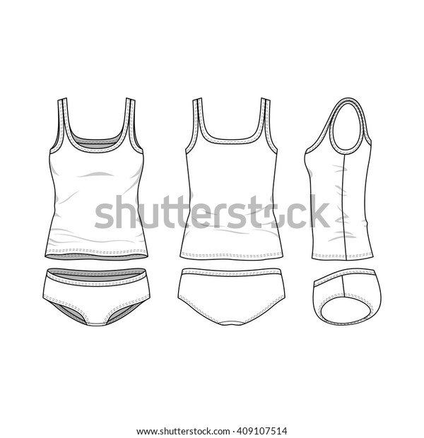 Blank Templates Womens Clothing Set Front Stock Vector